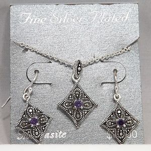 Silver Plated Marcasite Purple Necklace Earrings